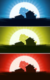 Set Of Ranch House In Wild Country Landscape Stock Photos