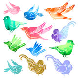 Set of random birds with glitter and watercolor Royalty Free Stock Photos