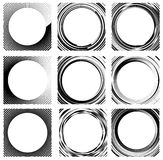 Set of random circle elements. Concentric circles, concentric ri. Ngs. 9 different version. - Royalty free vector illustration royalty free illustration