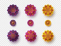 Set of rangoli for Diwali festival. Decorative 3d paper cut elements for holiday Deepawali design. Isolated on transparent, vector royalty free illustration