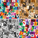 Set of ransom note kidnapper seamless patterns Royalty Free Stock Images