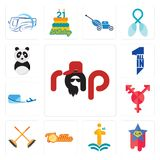 Set of rap, superstar, first class, tortilla, streetbrush, transgender, air mail, all in one, panda mascot icons. Set Of 13 simple editable icons such as rap Royalty Free Stock Image