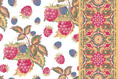Set of raspberry seamless pattern and border. Pastel summer  background for textiles, pillow, interior decoration Stock Photos