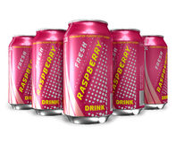 Set of raspberry soda drinks Stock Photos