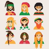 Set with  rastafarian men, isolated on background. Lovely flat cartoon characters in bright colors. Royalty Free Stock Photo