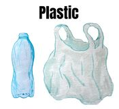 A set of raster elements - a plastic bottle and a package vector illustration