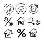 Set of Rate for mortgage icon. Vector illustration. Isolated on white background.  Royalty Free Illustration