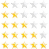Set of rating stars. Set of five appraisal star ratings, isolated on white background Royalty Free Stock Images