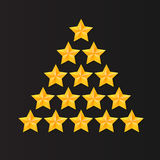 Set of rating stars. Gold five-pointed in the shape like a Christmas tree. Stock Photos