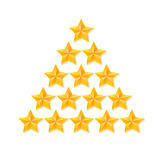 Set of rating stars. Gold five-pointed in the shape like a Christmas tree. Royalty Free Stock Photos
