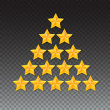 Set of rating stars. Gold five-pointed in the shape like a Christmas tree. Stock Photography