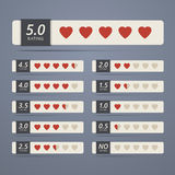 Set of rating widgets with heart shapes Stock Images