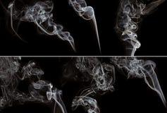 Set Rauch auf schwarzem Hintergrund Stockbilder