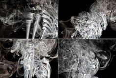 Set Rauch auf schwarzem Hintergrund Lizenzfreies Stockfoto