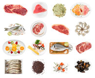 Set of raw foods on white stock image