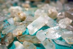 Set of raw quartz crystals isolated background royalty free stock images