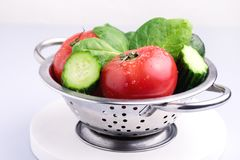 Set of Raw Vegetables Tasty and Beautiful Tomato Cucumber Avocado Spinach Gray Background Close Up Ingredients For Salad. Set of Raw Vegetables Tasty and Royalty Free Stock Image