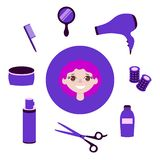 Set of rdressing items. Objects to do the girl a beautiful hairdo. stock illustration