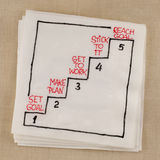 Set and reach goal. Reaching goal in five steps - napkin concept sketch stock photo