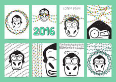 Set 8 ready designs with monkey for 2016. Hipster style Royalty Free Stock Images