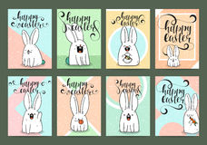 Set of ready designs for print Easter greeting card. Calligraphy Royalty Free Stock Image