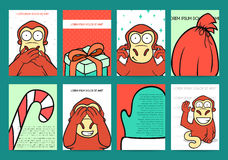 Set 8 ready holidays designs with red monkey for 2016 Royalty Free Stock Images