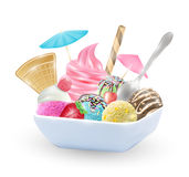 Set of real chocolate lemon mango strawberry and mint  ice cream on a dish Royalty Free Stock Photos