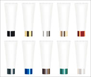 Set of a real colorful cosmetic tube vector. A set of a real colorful cosmetic tube vector Stock Photos