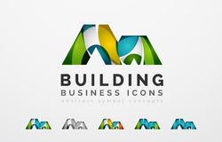 Set of real estate or building logo business icons Royalty Free Stock Image