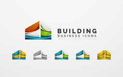 Set of real estate or building logo business icons Royalty Free Stock Images