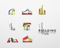 Set of real estate or building logo business icons Stock Photo