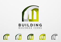 Set of real estate or building logo business icons Royalty Free Stock Photography