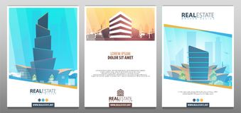 Set of Real Estate Business Brochure. Flyer Design. Leaflets a4. Template. Cover Book and Magazine. Vector illustration Stock Images