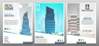 Set of Real Estate Business Brochure. Flyer Design. Leaflets a4. Template. Cover Book and Magazine. Vector illustration royalty free illustration
