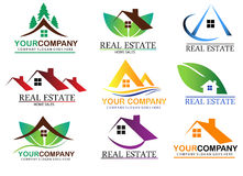 Set real estate logo design Stock Images