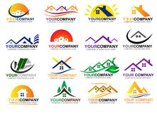 Set real estate logo design Royalty Free Stock Images