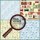 Set Real Estate seamless patterns with houses, icons. Royalty Free Stock Photography