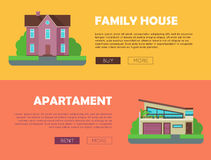 Set of Real Estate Vector Web Banners. Set of real estate vector web banners in flat style. Family house and apartment horizontal illustrations for real estate Royalty Free Stock Photo