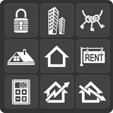 Set of 9 real estate web and mobile icons. Vector. Royalty Free Stock Photo