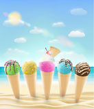 Set of a real ice cream cone on a sea sand beach. A set of a real ice cream cone on a sea sand beach Royalty Free Stock Photos