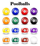 Set of real pool balls on a white background Royalty Free Stock Photography