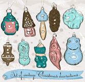 Set of real vintage Christmas decorations 1. Stock Images