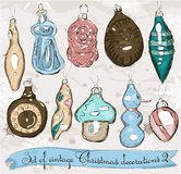 Set of real vintage Christmas decorations 2. Royalty Free Stock Image
