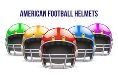 Set of Realistic American football helmet. Front Royalty Free Stock Image
