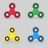 Set of realistic anxiety relief toy. Fidget finger spinner stress. Collection hand spinner isolated on white background. Vector illustration. Eps 10 Royalty Free Stock Photos