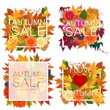 Set of realistic autumn sale announcement in frame with bright foliage leaves and flowers. Stock Photos