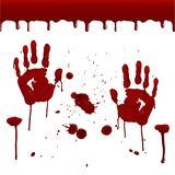 Set of realistic bloody prints. Seamless pattern of dripping blood, drops, splashes, prints of the right and left hands. Design for posters, banners, postcards Stock Image
