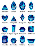 Set of realistic blue amethysts with complex cuts Royalty Free Stock Photo