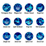 Set of realistic blue amethysts with round cuts Stock Photos
