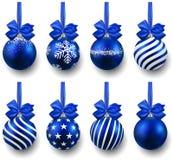 Set of realistic blue christmas balls. Stock Photography